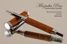 Handmade Rollerball pen made from Brown Faux Leather with Chrome  finish.   Main view of pen