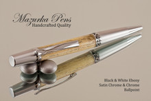 Handmade Ballpoint Pen, Black & White Ebony Wood, Satin Chrome & Chrome Finish
