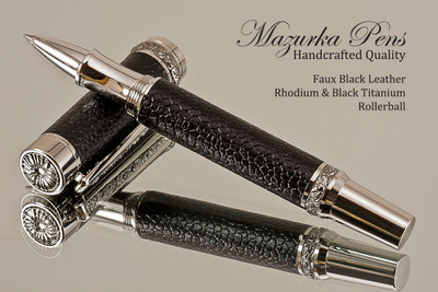 Handmade Rollerball pen made from Faux Leather with Rhodium / Black Titanium finish.   Side view of pen - Stock Picture