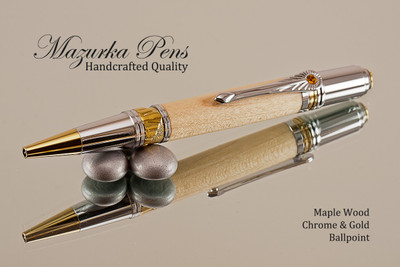 Handcrafted ballpoint pen made from Maple with Chrome / Gold finish.