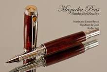 Handmade Rollerball pen made from Marinara Sauce Resin with Rhodium / Gold.  Handcrafted pen by our artist.