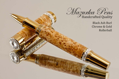 Handcrafted wooden rollerball pen made from Black Ash Burl with Gold / Chrome finish.  Main view of pen and cap.