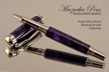 Handmade Rollerball pen made from Purple Moon Resin with Rhodium / Gold.  Handcrafted pen by our artist.