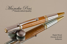 Handmade Ballpoint Pen, Dark Maple with Chrome and Gold Finish