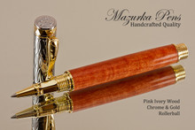 Handmade Rollerball Pen Handcrafted from Pink Ivory Wood with Chrome & Gold finish.