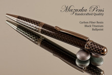 Handmade pen made from Faux Carbon Fiber with Black Titanium/Faux Carbon Fiber finish.  Handcrafted pen.