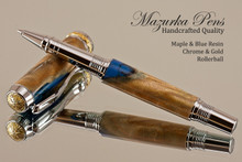 Handmade Blue Resin / Maple Rollerball Pen with Chrome / Gold trim.