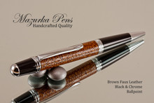 Handmade pen made from Brown Faux Leather with Black / Chrome finish.  Handcrafted pen.