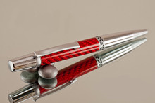 Handmade Ballpoint Pen, Red Carbon Fiber Resin Pen, Black Titanium and Platinum Finish