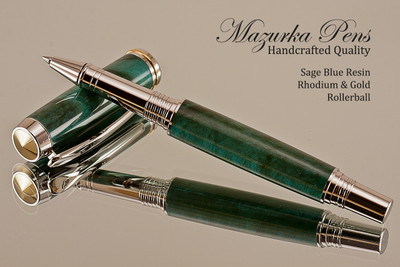 Handmade Rollerball pen made from Sage Blue Resin with Rhodium / Gold.  Handcrafted pen by our artist.