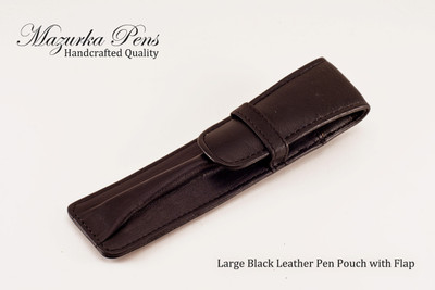Large Black leather pen and / or pencil pouch.  Shown Closed