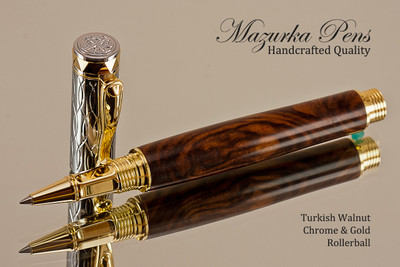 Handcrafted wood pen made from Turkish Walnut with Chrome and Gold finish.