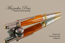 Handmade Ballpoint Pen, made from Tulipwood Pen, Chrome and Gold Finish