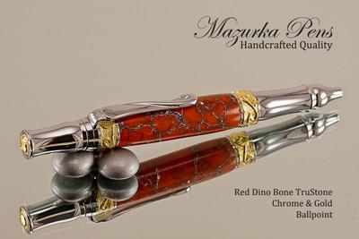 Handmade Ballpoint Pen from Red Dino Bone TruStone, Chrome & Gold Finish