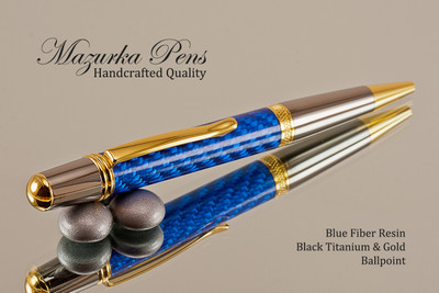 Handmade Ballpoint Pen, Blue Carbon Fiber Resin Pen, Black Titanium and Gold color Finish