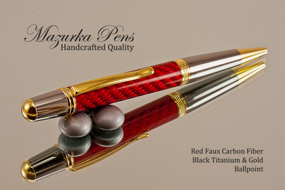 Handmade Ballpoint Pen, Red Carbon Fiber Resin Pen, Black Titanium and Gold color Finish