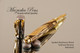 Spalted Hackberry Wood Rollerball Pen with Gold and Chrome Finish with Postable Cap