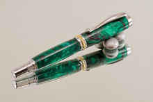 Handmade Writing Instrument Green Nebula Chrome and Gold Finish