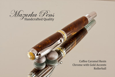 Elegant Rollerball Coffee Caramel Resin with Chrome and Gold Finish