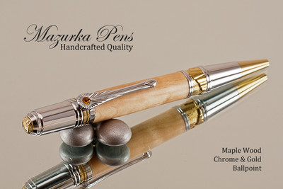 Handcrafted pen made from Maple with Chrome / Gold finish.