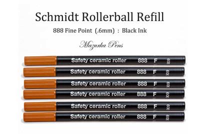 Schmidt 888 Rollerball Refill, Black Ink, Fine Point (.6mm) - 6 Pack