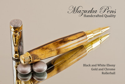 Black and White Ebony Chrome and Gold Rollerball Pen