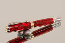 Handmade Writing Instrument Red Flame Resin Chrome and Gold Finish