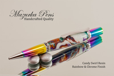 Handmade Ballpoint Pen made from Candy Acrylic Resin with Rainbow and Chrome finish.