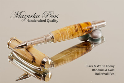 Black and White Ebony Rhodium and Gold Rollerball Pen