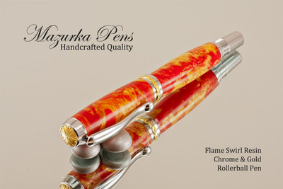 Rollerball Flame Swirl Resin with Chrome and Gold Finish