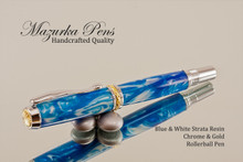 Blue & White Strata Resin  Chrome & Gold Rollerball