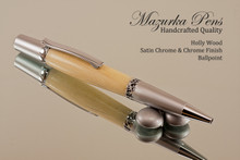 Holly Wood Satin Chrome & Chrome Ballpoint Pen