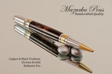 Handmade Ballpoint Pen, Black and Copper TruStone Ballpoint Pen, Gold and Chrome Finish - Looking from top of Ballpoint Pen