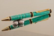 Handcrafted Turquoise TruStone Black & Gold Ballpoint Pen
