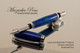 Handmade Rollerball Pen, Lapis, Malachite TruStone Pen, Chrome Finish / Black Accents - Looking from cap of Pen