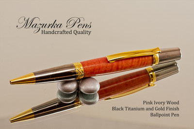 Handmade Ballpoint Pen, Pink Ivory Wood, Titanium and Gold color finish - Looking from bottom of Ballpoint Pen