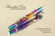 Handmade Ballpoint Pen made from Purple Acrylic Resin and Wood with Rainbow and Chrome finish.
