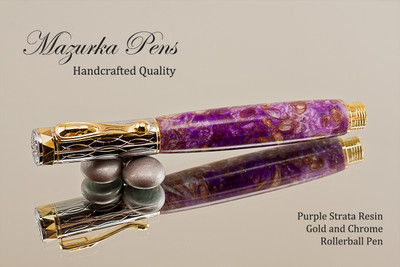 Handmade Rollerball Pen made from Purple Strata Resin with Chrome finish / gold colored accents.