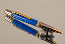 Blue Carbon Fiber Resin Ballpoint Black Titanium/Gold