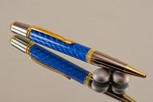 Blue Carbon Fiber Resin Ballpoint Black Titanium/Gold