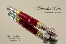 Handmade Ballpoint Pen, Cranberry Jam, Gold and Chrome Finish