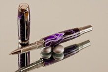 Handmade Rollerball Pen Purple White Ribbon Black Titanium/Rhodium