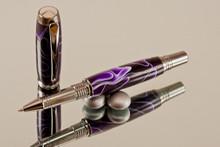 Handmade Rollerball Pen Purple White Ribbon Black Titanium/Rhodium