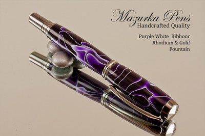 Purple & White Resin Rollerball with Black Titanium Finish
