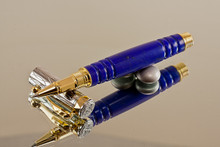 Deep Lapis with Gold fleck TruStone Rollerball Pen