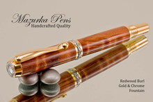 Hand Made Rollerball Pen made from Redwood Lace Burl with Gold and Chrome finish.  Main view of pen and cap.