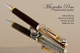 Handmade Ballpoint Pen, Gabon Ebony, Pen, Chrome and Gold Finish