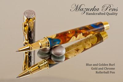 Blue and Golden Burl Rollerball Pen