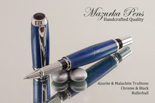 Handcrafted Rollerball Azurite Malachite TruStone Chrome & Black