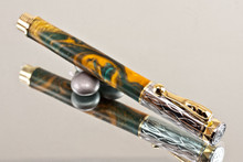 Handmade Rollerball Pen made from Lantern Resin with Chrome finish / gold colored accents.